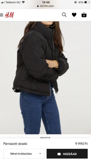 H M fekete pufi téli kabát  2a962ee704