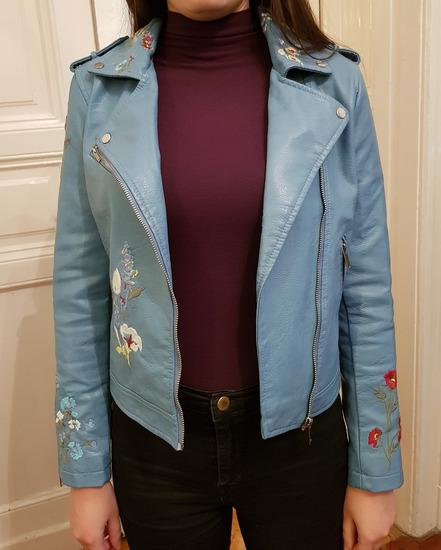 Új kék hímzett női bőrdzseki Xs-S 7e978c5a42