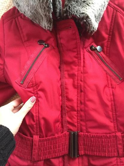 Piros szőrmés elegáns TÉLI kabát újszerű  a0d2e25b33