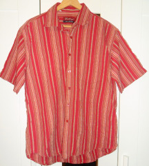 L - Piros csíkos rövidujjú férfi ing