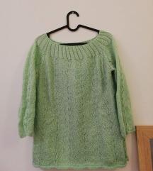 Kézzel készült almazöld kötött pulcsi