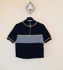 ÚJ! C&A fekete kockás rövidujjú crop póló XS/S