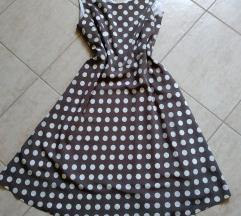 Barna-fehér pöttyös nyári ruha (42)