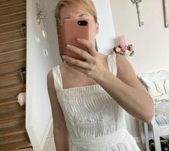 ZARA fehér vászon midi nyári ruha 38/M