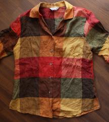 Lenvászon kockás ing őszi színekkel