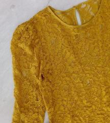 Mustár sárga csipke blúz M