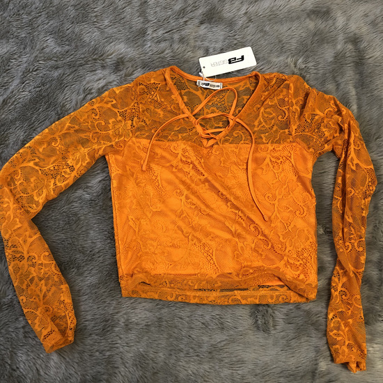 Narancssárga csipke crop top