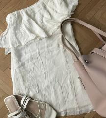 Mango félvállas nyári fehér ruha (36-38)