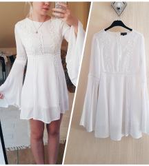 Pretty Little Thing fehér hímzett lenge ruha XS