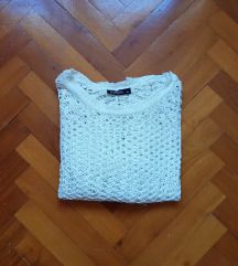 Fehér horgolt, kötött pulcsi S-M