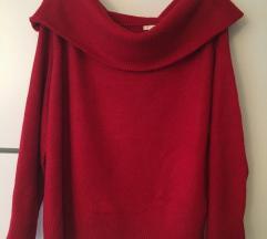 H&m ejtettvállú piros pulóver pulcsi L