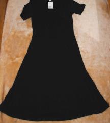 Térdig érő fekete H&M dzsörzéruha