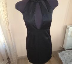 Új, fekete, fényes anyagú női alkalmi ruha 40-es