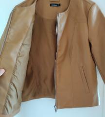 Tavaszi/őszi barna műbőr kabát (M)