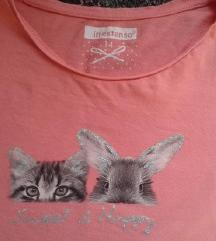 Rózsaszín cicás, nyuszis póló XS - csere v. 500 Ft