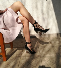 Zara Leather Lace up Wedges