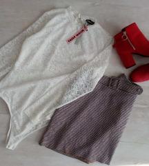 New Look saját öves kockás téli mini szoknya 42/L