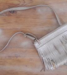 Aranyszínű rojtos női táska