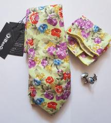 Új, 3 részes, virágos nyakkendő szett