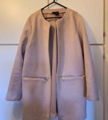 Stradivarius hosszú, rózsaszín velúr kabátka