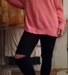 rózsaszín kötött pulóver oversized