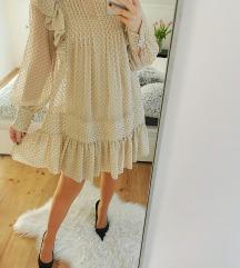 H&M bézs pöttyös fodros ruha