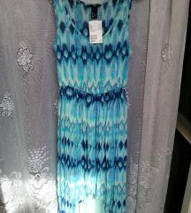 H&M kék aszimmetrikus pliszírozott ruha(ingyen pos