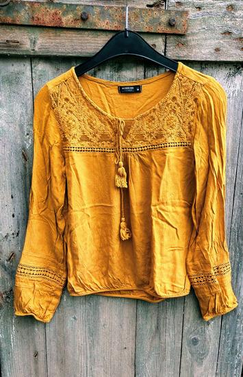 mustársárga, őszi blúz