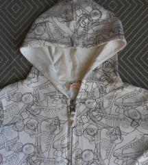 XS, 34 - Fehér kapucnis pulcsi, görkori mintás