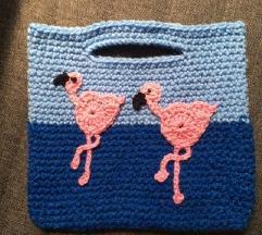 Horgolt flamingós kislány táska