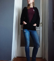 (Pull&bear) fekete, oversize blézer (S-es)