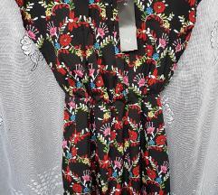F&F fekete virágos ruha(ingyen posta