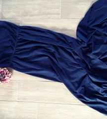 Sötétkék maxi pamut ruha