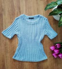 Kék Bershka polár, enyhén szőrmés póló (S/M)