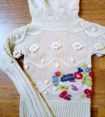 Kötött hímzett meleg pulóver