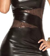 Fekete bőrhatású party mini, vagy tunika, új!