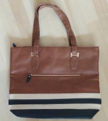 Avon barna csíkos pakolós táska