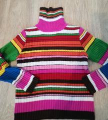 Csíkos garbós kötött pulóver
