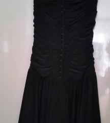 River Island fekete pánt nélküli kapcsos ruha