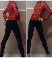 Piros bundás-prémes bőr kabát/dzseki + ajándék