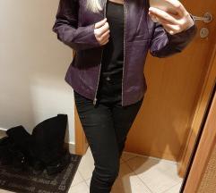 Padlizsán lila bőrkabát