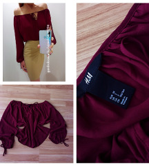 H&M burgundi vállejtős ing