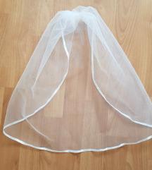 1 rétegű, szatén szélű, HÓFEHÉR MINI fátyol (2.1)