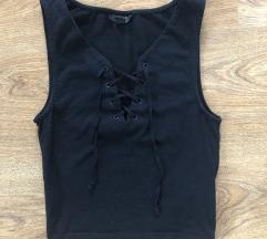 Fűzős fekete, ujjatlan crop top