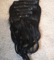Csatos emberi póthaj Fekete 45cm
