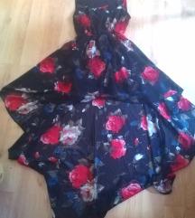 Virágos High-low ruha