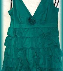 Warehouse zöld fodros ruha (38/40). Hibátlan