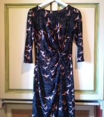 Fekete-barna madár mintás őszi-téli ruha