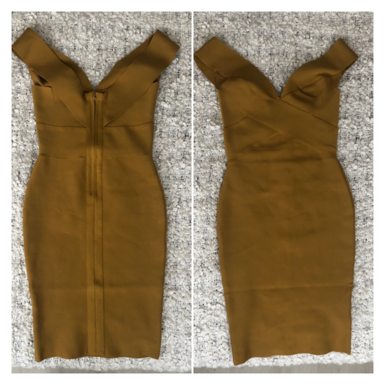 LEÁRAZVA! Khaki színű bandage ruha