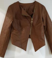 Barna műbőr kabát